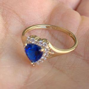 Jewelry - 14k Yellow Gold Blue Sapphire Heart Ring